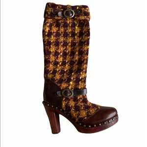Dolce & Gabbana Tweed Houndstooth Boots